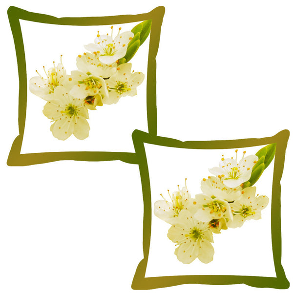 Leaf Designs Mehndi Shaded Border Floral Cushion Cover - Set Of 2