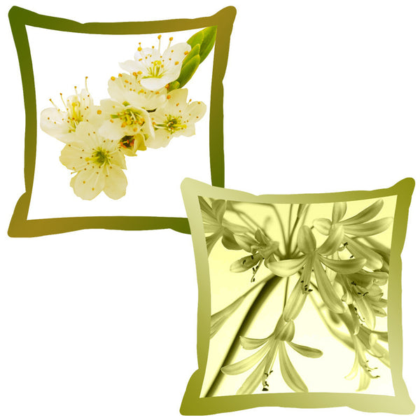 Leaf Designs Pista & Lemon Shaded Border Floral Cushion Cover - Set Of 2