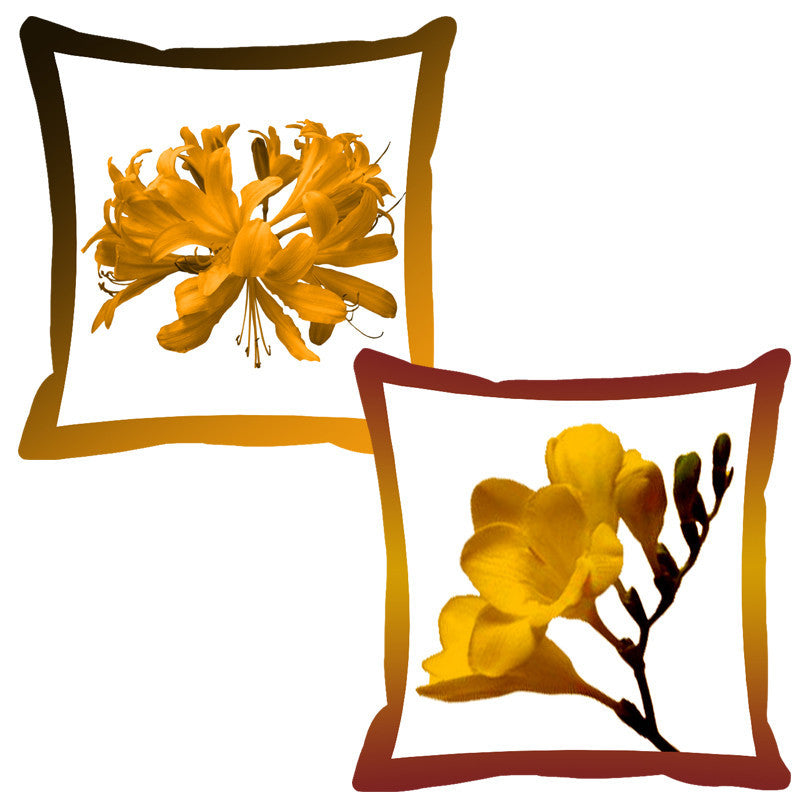 Leaf Designs Maroon & Mustard Shaded Border Floral Cushion Cover - Set Of 2