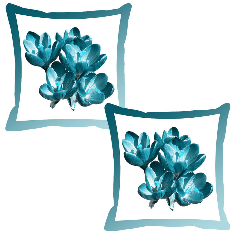 Leaf Designs Cerulean Shaded Border Floral Cushion Cover - Set Of 2