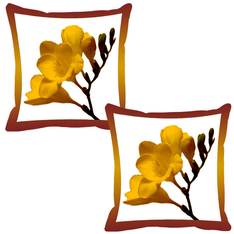 Leaf Designs Brick Shaded Border Floral Cushion Cover - Set Of 2