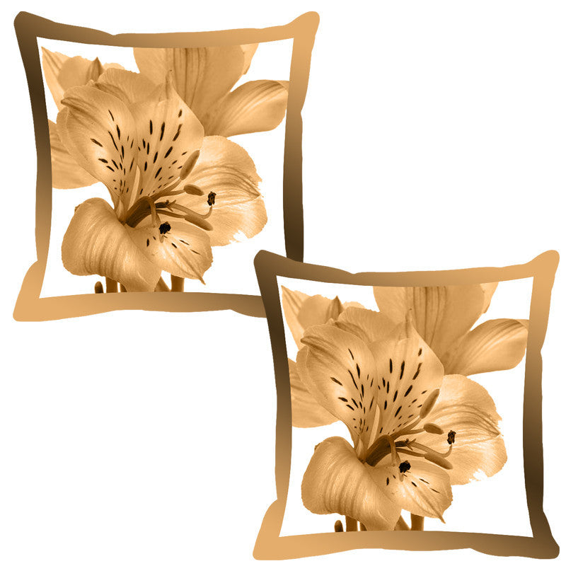 Leaf Designs Ochre Shaded Border Floral Cushion Cover - Set Of 2