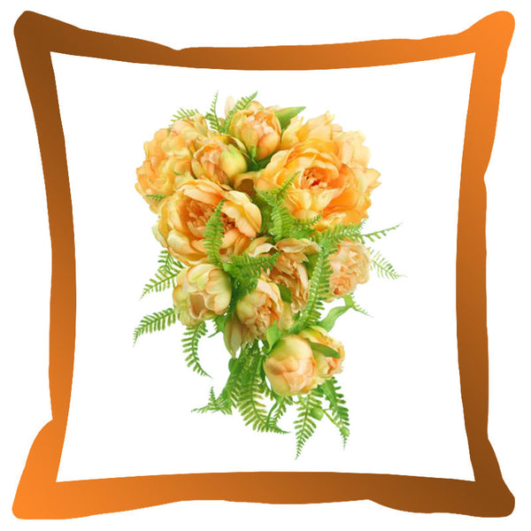 Leaf Designs Brown & Orange Shaded Border Floral Cushion Cover - Set Of 2