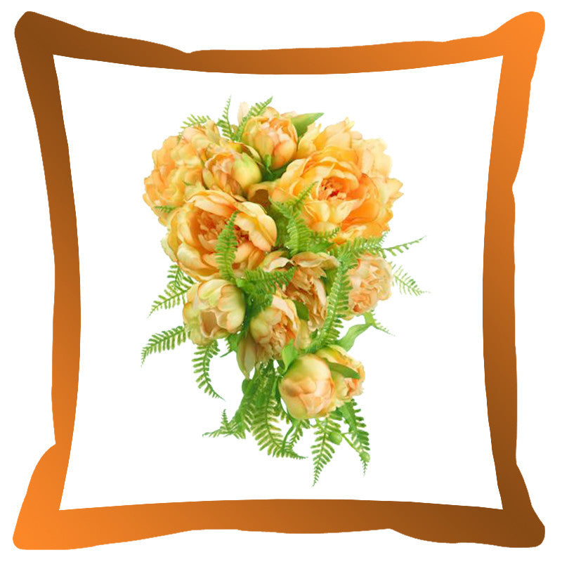 Leaf Designs Orange Shaded Border Floral Cushion Cover