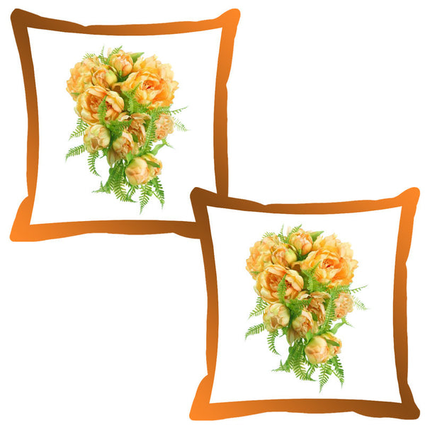 Leaf Designs Orange Shaded Border Floral Cushion Cover - Set Of 2