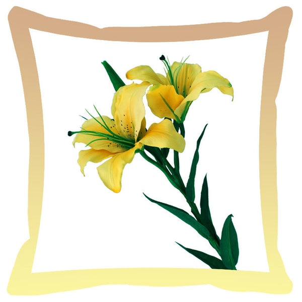 Leaf Designs Lemon & Sage Shaded Border Floral Cushion Cover - Set Of 2