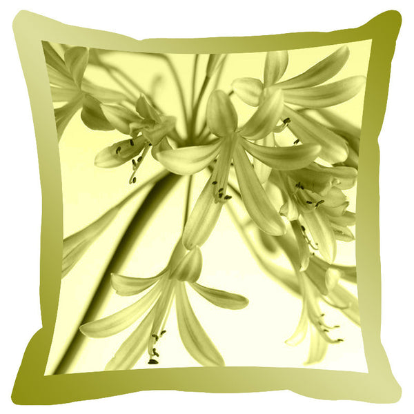 Leaf Designs Sage Shaded Border Floral Cushion Cover - Set Of 2