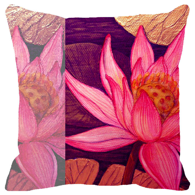 Leaf Designs Multicoloured Lotus Cushion Cover