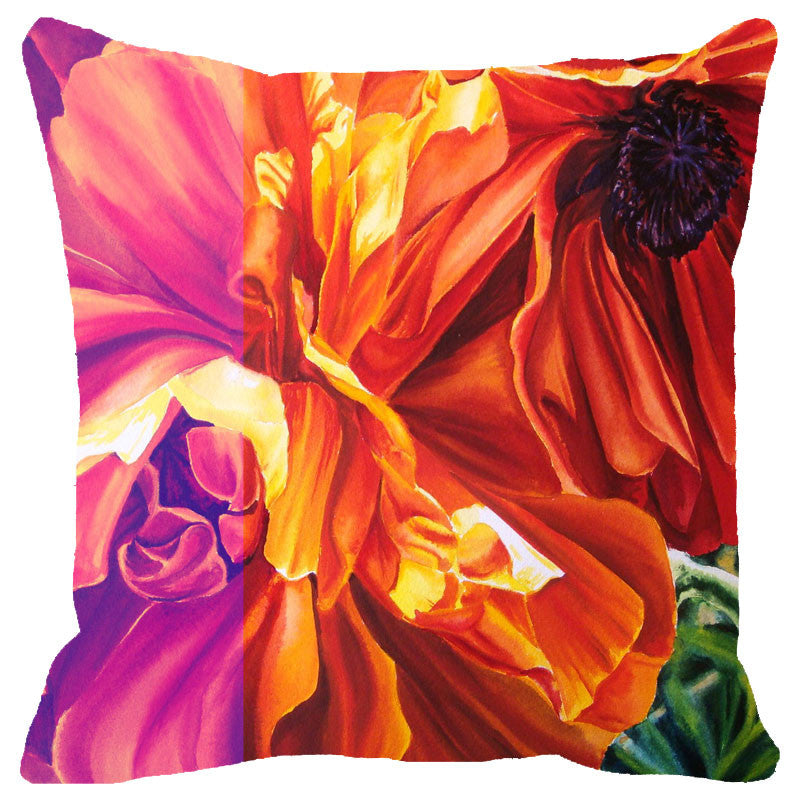 Leaf Designs Multicoloured Hues Floral Cushion Cover (A)