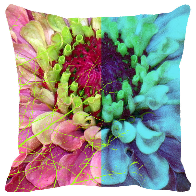 Leaf Designs Multicoloured Blue Hues Floral Cushion Cover