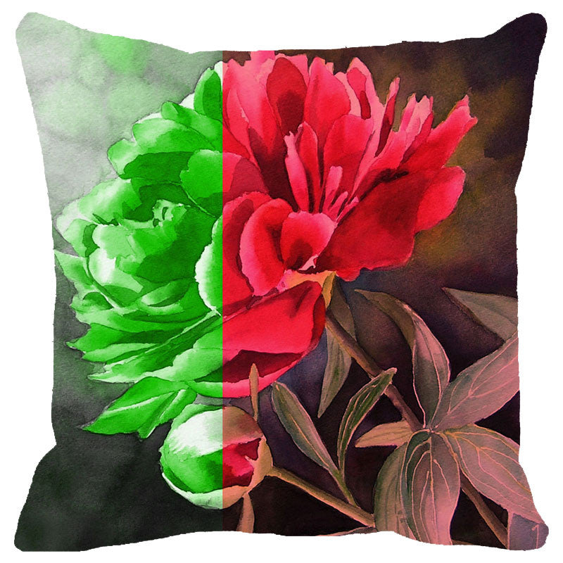 Leaf Designs Dual Tone Floral Cushion Cover