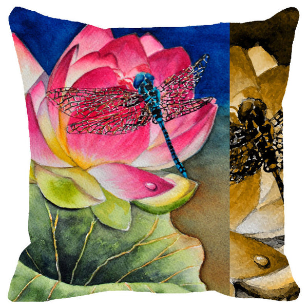 Leaf Designs Multicoloured Dragonfly Cushion Cover