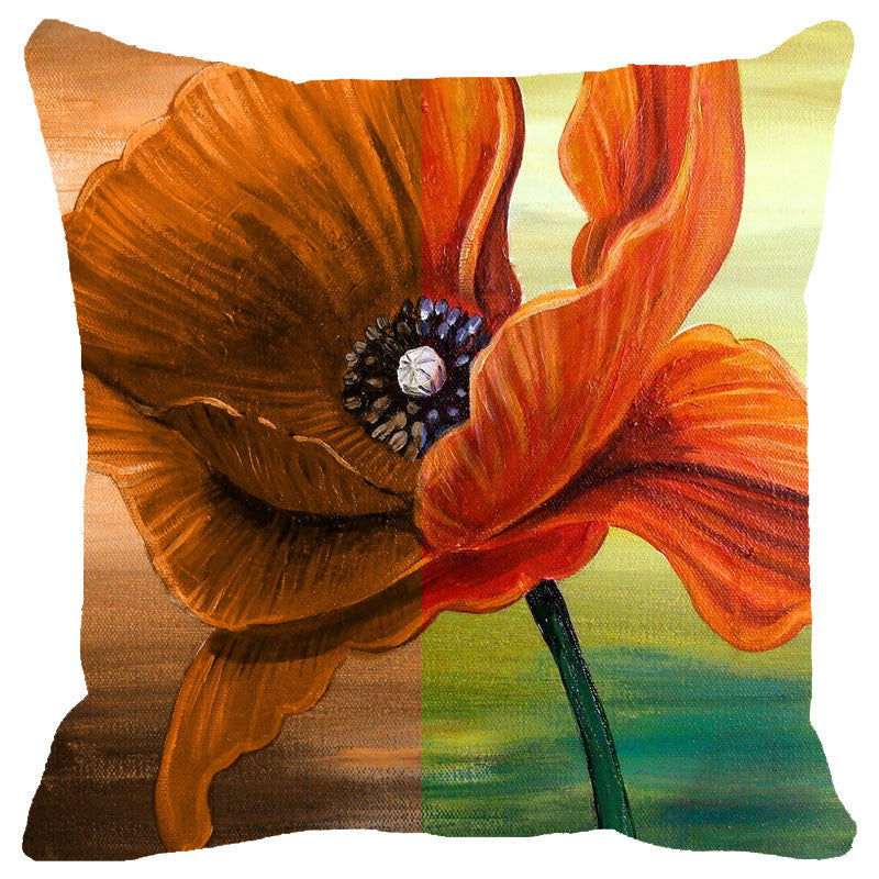 Leaf Designs Orange Floral Cushion Cover