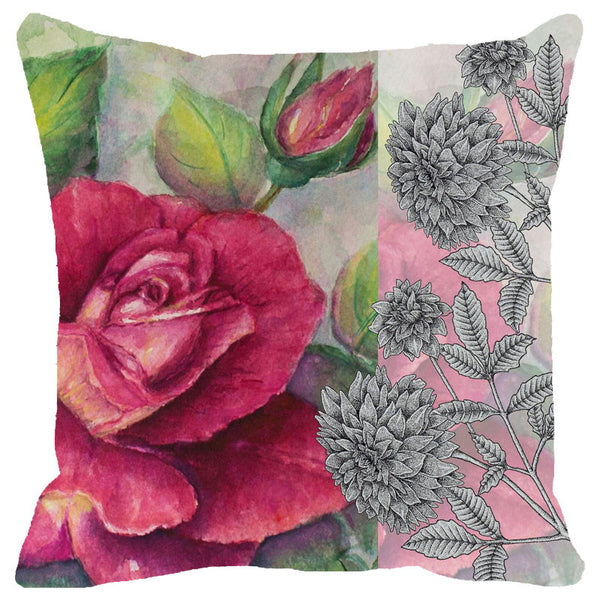 Leaf Designs Antique Rose Cushion Cover