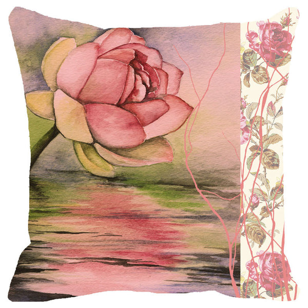 Leaf Designs Pink Rose Cushion Cover