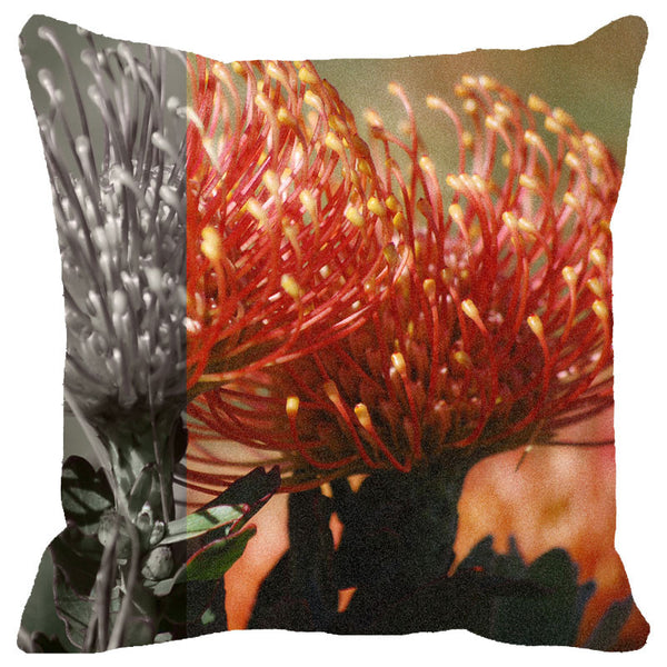Leaf Designs Peach Floral Cushion Cover