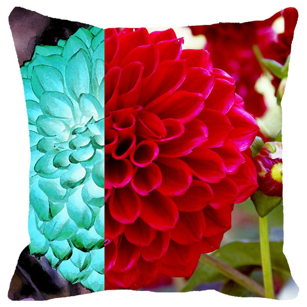Leaf Designs Red & Light Blue Floral Cushion Cover