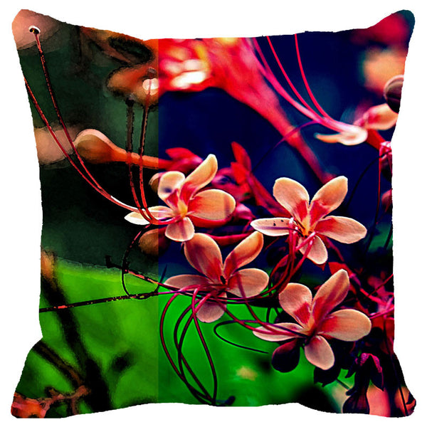 Leaf Designs Multicoloured Frangipani Cushion Cover