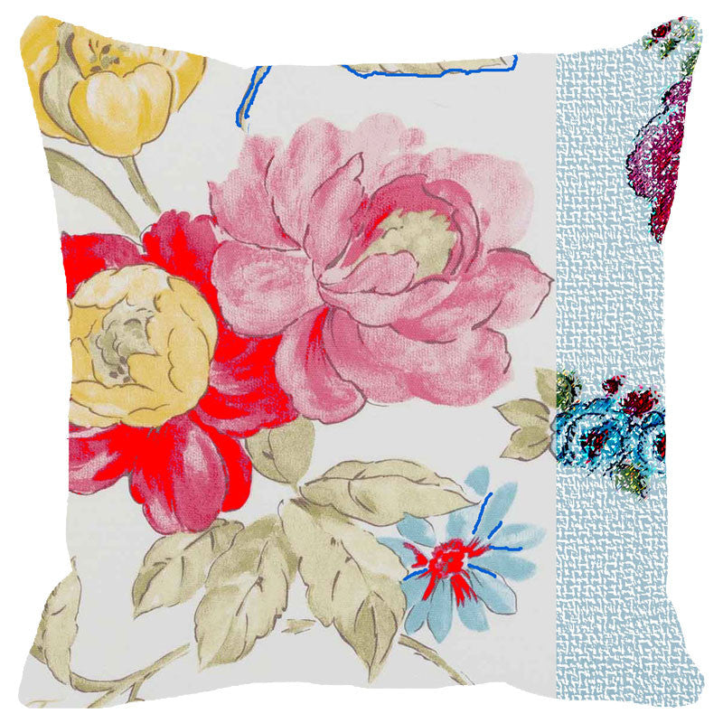 Leaf Designs Multicoloured Hues Floral Cushion Cover (B)