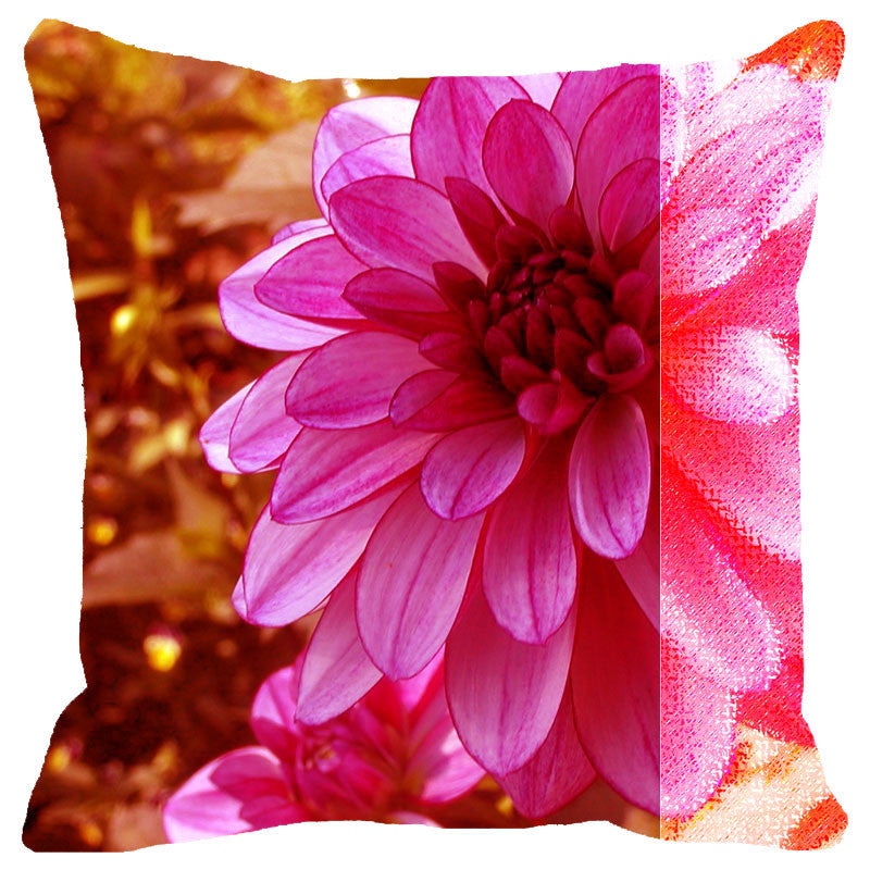 Leaf Designs Pink Dahlia Cushion Cover