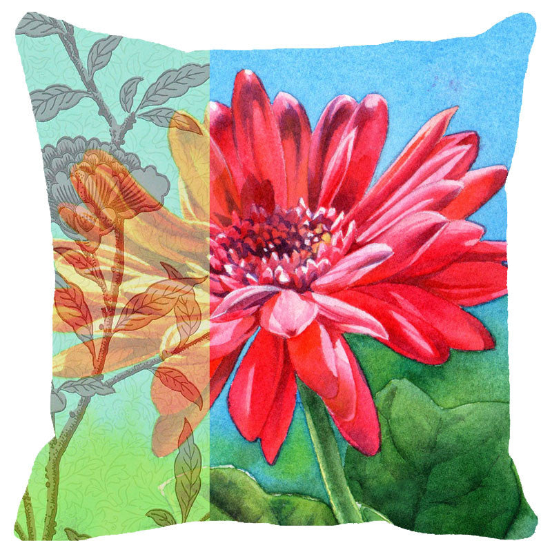 Leaf Designs Multicoloured Pink & Orange Floral Cushion Cover