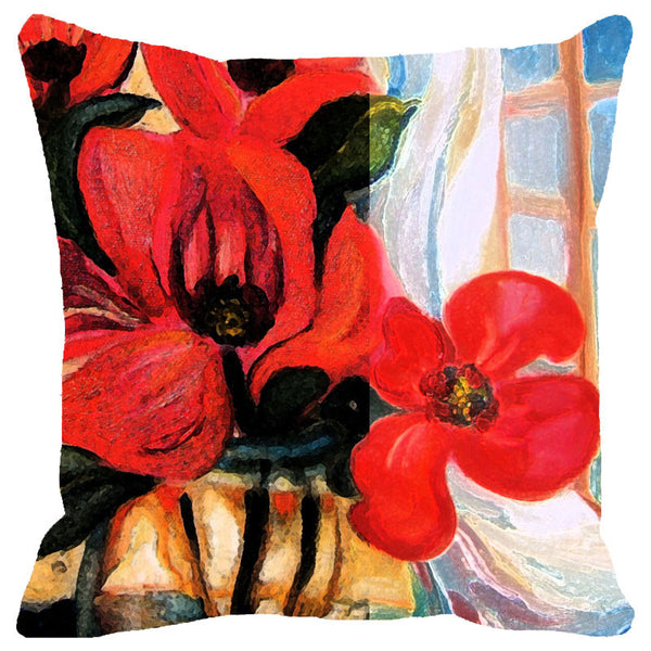 Leaf Designs Deep Red Floral Cushion Cover