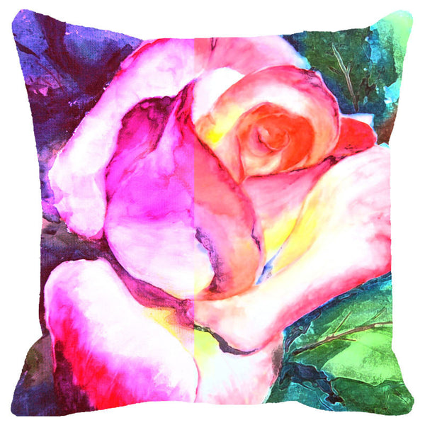 Leaf Designs Purple Rose Cushion Cover