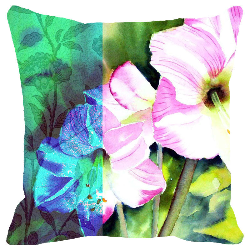 Leaf Designs Pink & Blue Flowers Cushion Cover