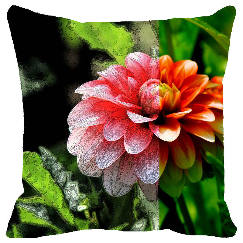 Leaf Designs Red Dahlia Cushion Cover