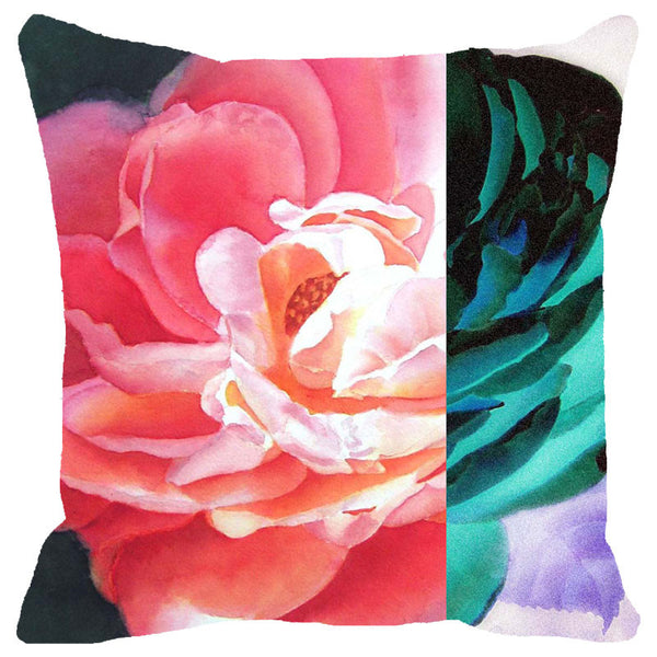 Leaf Designs Blue & Pink Rose Cushion Cover