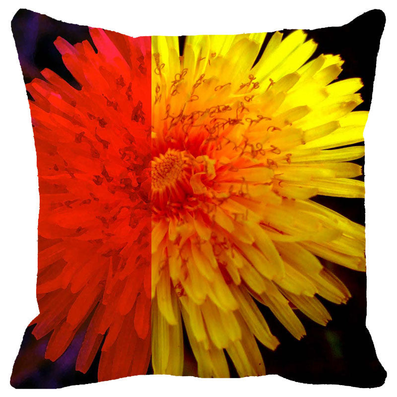 Leaf Designs Orange & Yellow Floral Cushion Cover