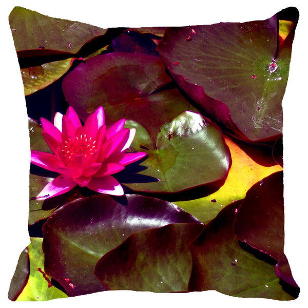 Leaf Designs Fuchsia Lotus With Leaves Cushion Cover