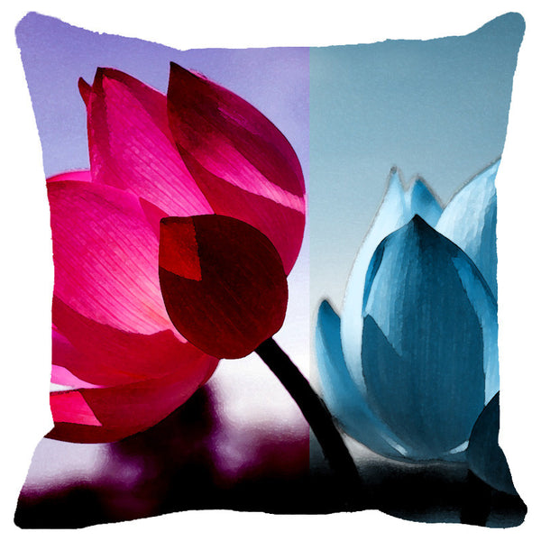 Leaf Designs Fuchsia & Blue Shaded Lotus Cushion Cover