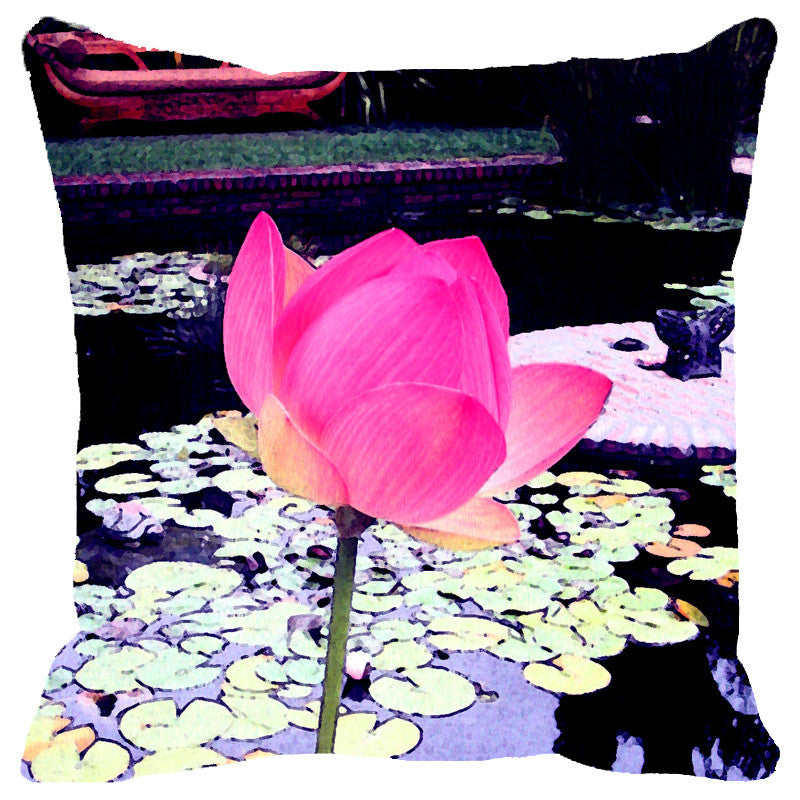Leaf Designs Light Pink Lotus Cushion Cover