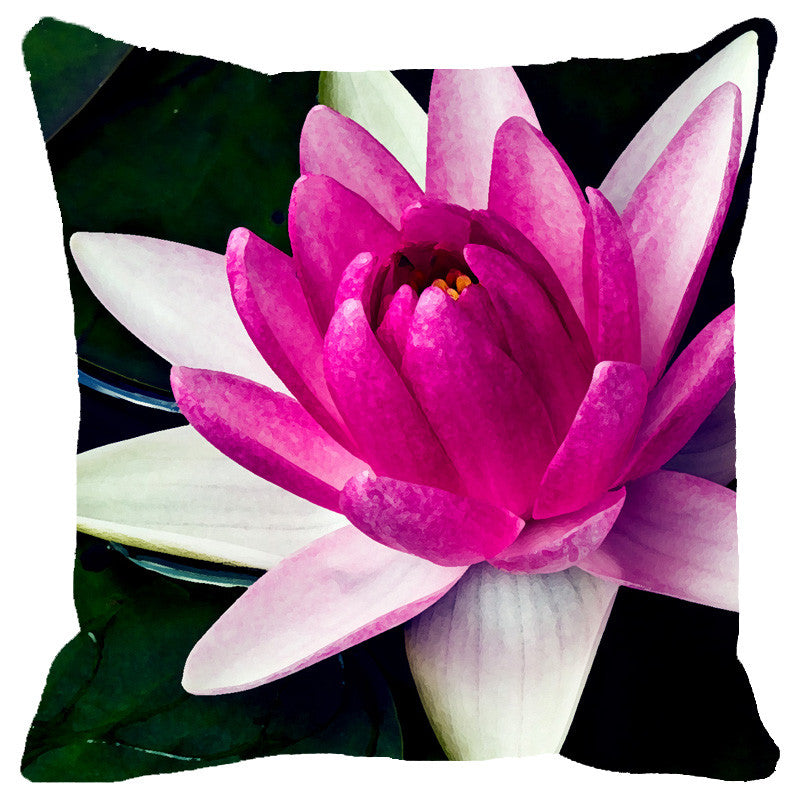 Leaf Designs Pink Shaded Lotus Cushion Cover