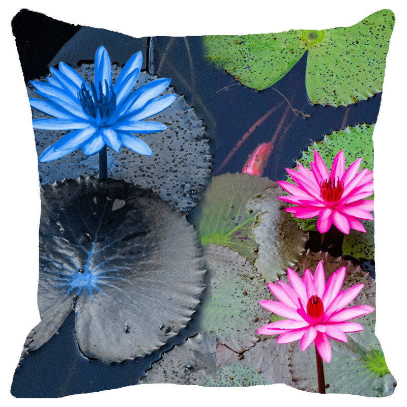 Leaf Designs Blue & Pink Lotus Cushion Cover