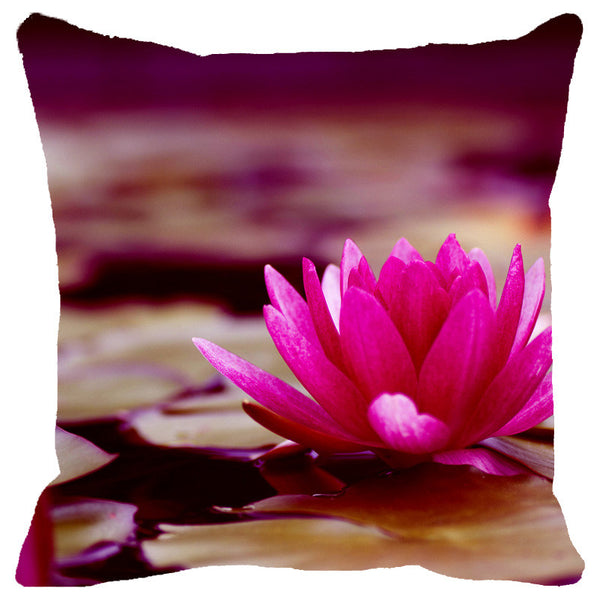 Leaf Designs Pink & Sepia Shaded Lotus Cushion Cover