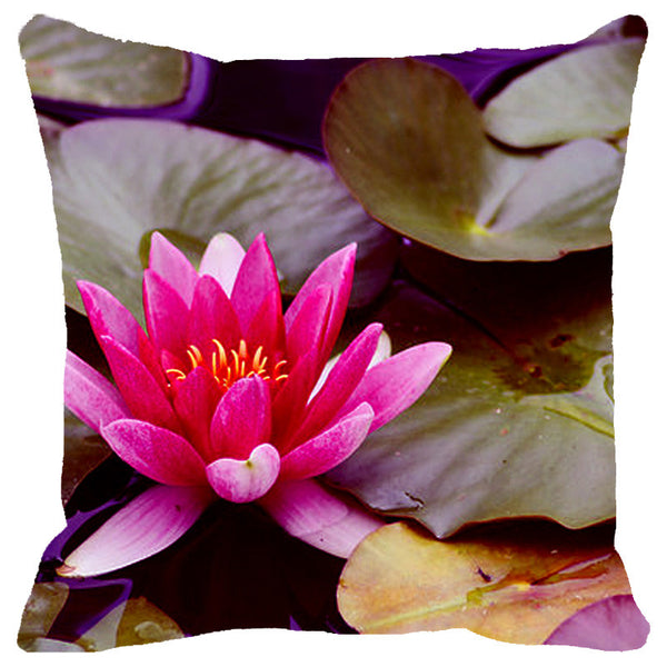 Leaf Designs Pink & Purple Lotus Cushion Cover