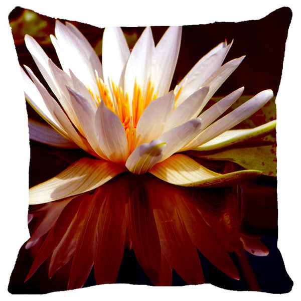 Leaf Designs Ivory Lotus Cushion Cover