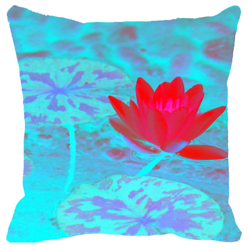 Leaf Designs Pink & Light Blue Lotus Cushion Cover