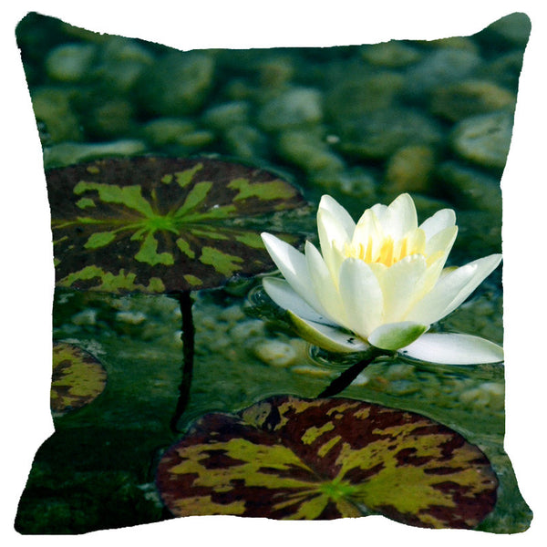 Leaf Designs White & Green Lotus Cushion Cover