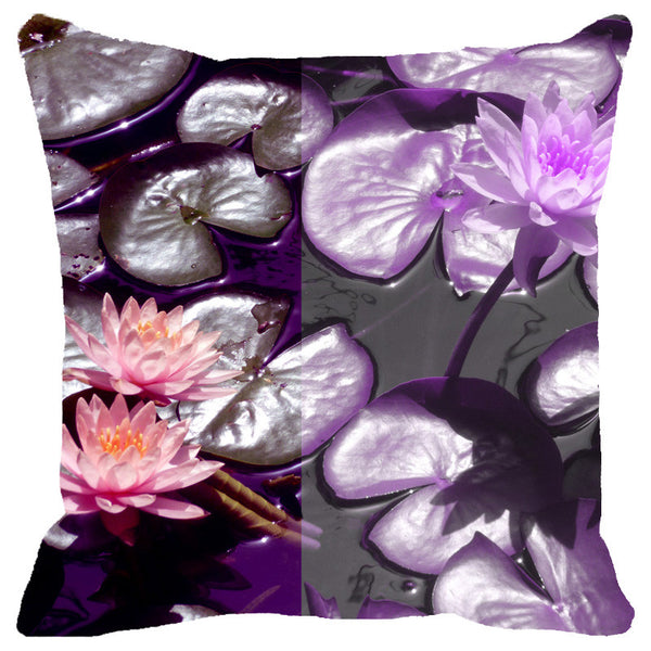 Leaf Designs Purple Lotus Cushion Cover