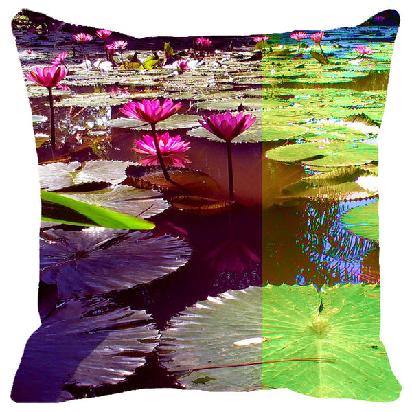 Leaf Designs Pink & Green Lotus Cushion Cover
