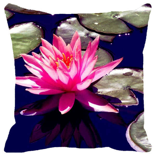 Leaf Designs Pink & Blue Lotus Cushion Cover