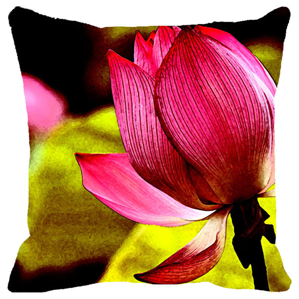 Leaf Designs Single Lotus Cushion Cover