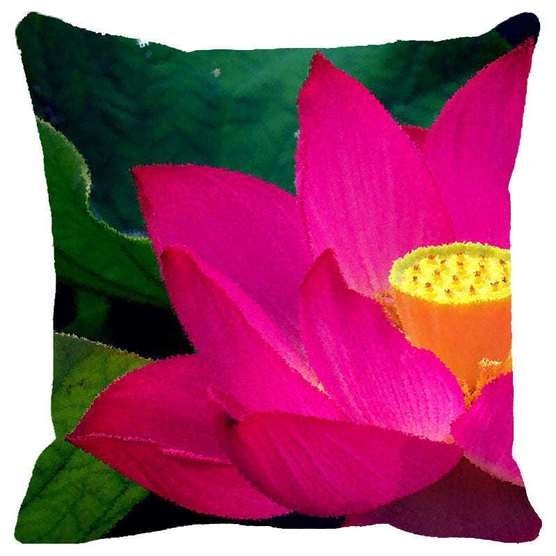 Leaf Designs Pink & Yellow Lotus Cushion Cover
