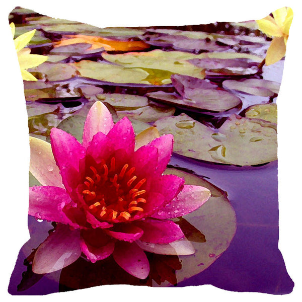 Leaf Designs Pink Lotus Cushion Cover(A)