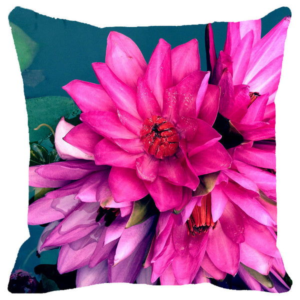 Leaf Designs Bunch Of Lotus Cushion Cover