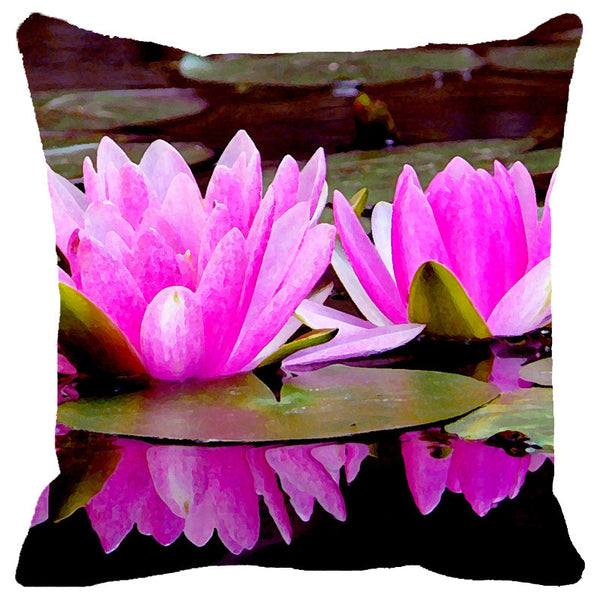 Leaf Designs Pink Double Lotus Cushion Cover