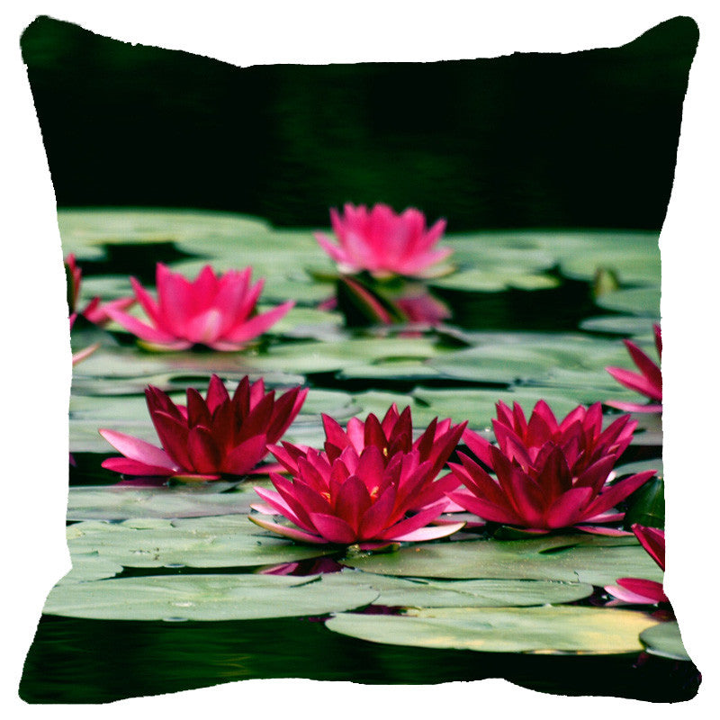 Leaf Designs Green & Red Lotus Cushion Cover
